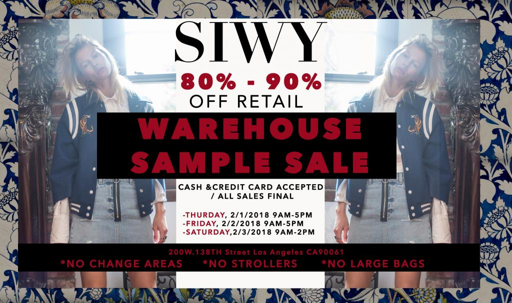 Siwy Warehouse Sample Sale, Los Angeles, February 2018