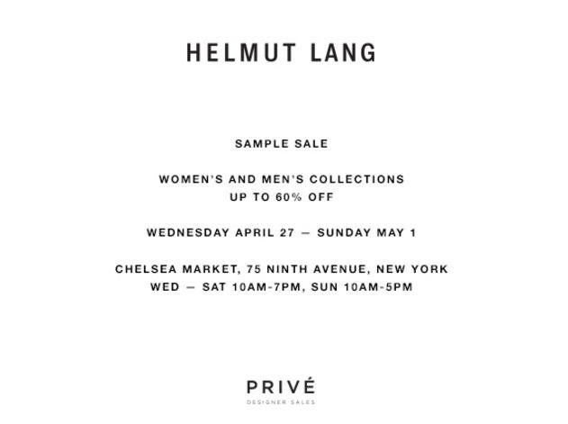 Helmut Lang Sample Sale, New York, April 2016