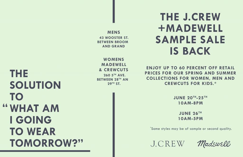 J.Crew Womens + Madewell Sample Sale, New York, June 2016