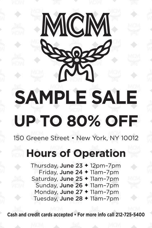 MCM Sample Sale, New York, June 2016