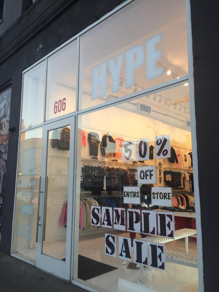 hype store sample sale
