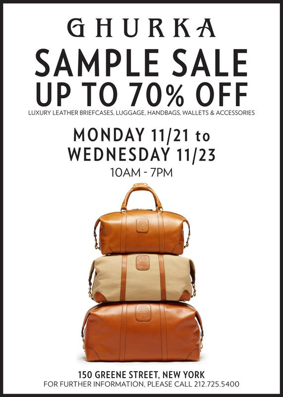 Ghurka Bag Sample Sale, New York, November 2016