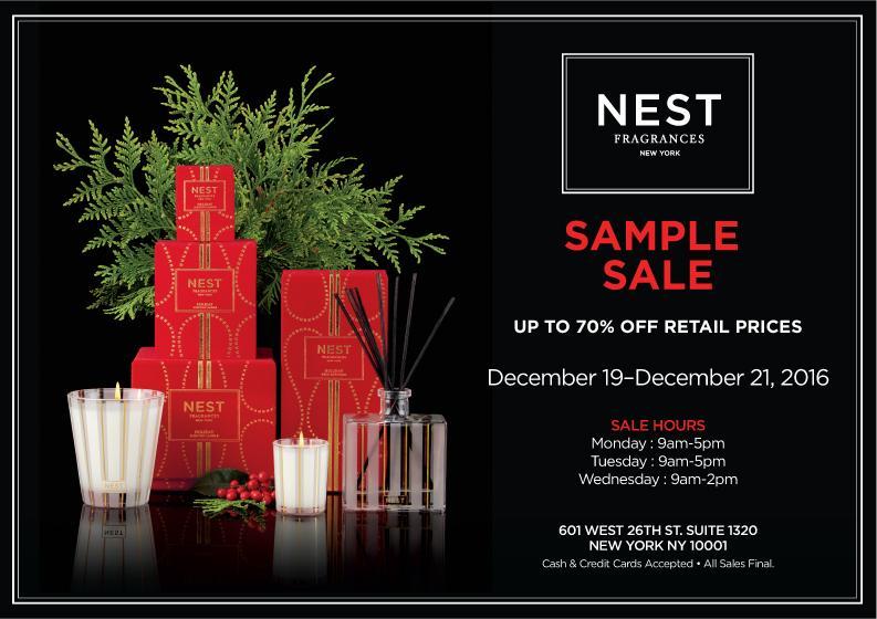 NEST Fragrances Sample Sale, New York, December 2016