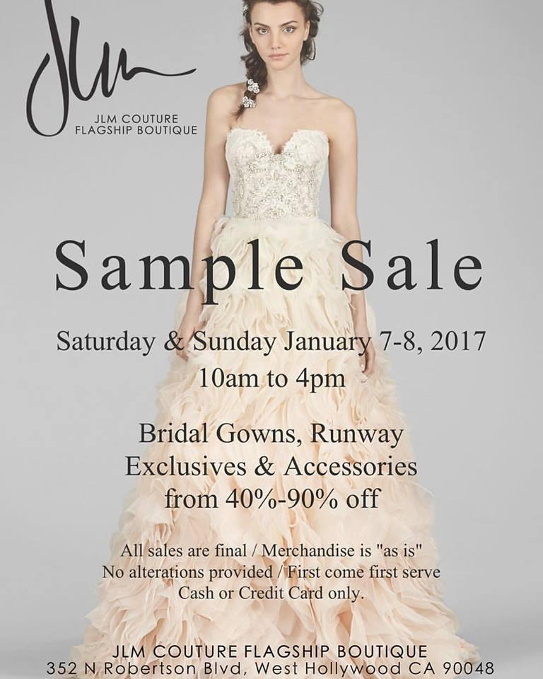 JLM Couture Bridal Sample Sale, Los Angeles, January 2017