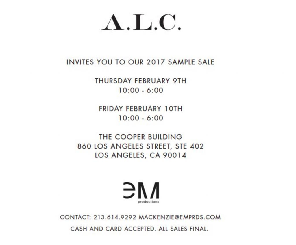 A.L.C. Sample Sale, Los Angeles, February 2017