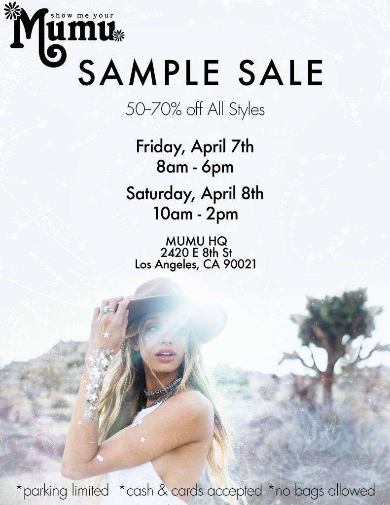 Show Me Your Mumu Sample Sale, Los Angeles, April 2017