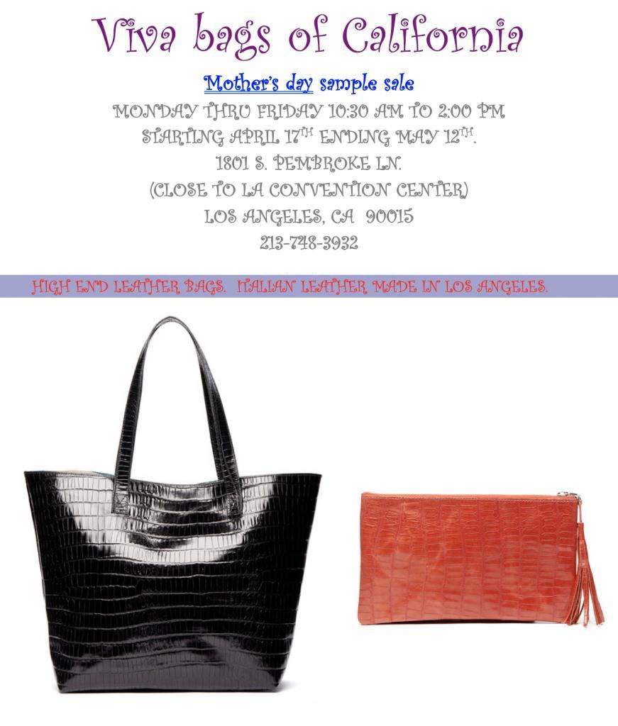 Leather Handbag Sample Sale, Los Angeles, April 2017