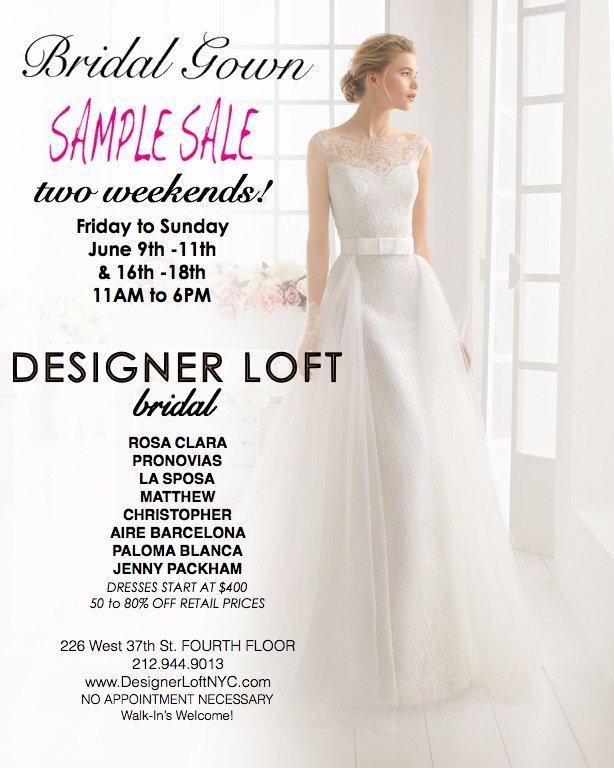 Designer Loft Bridal Gown Sample Sale, New York, June 2017