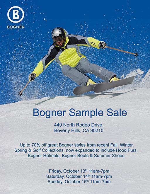 60% Rabatt beliebte Marke Sportschuhe Cancelled: Bogner Sample Sale, Los Angeles, October 2017