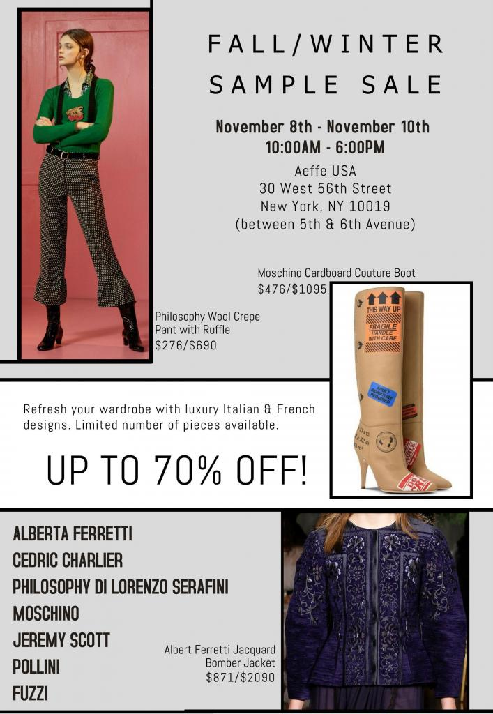 AEFFE USA Fall Winter Sample Sale