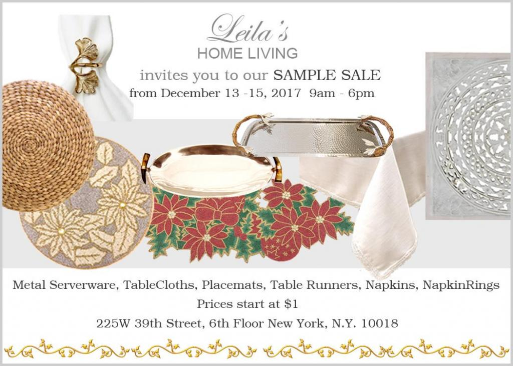 Leila's Linens Home Decor & Table Linen Sample Sale