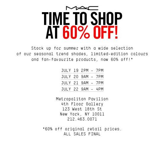MAC Cosmetics Sample Sale, New York, July 2016