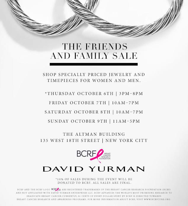 David Yurman Friends Family Sale New York October 2016
