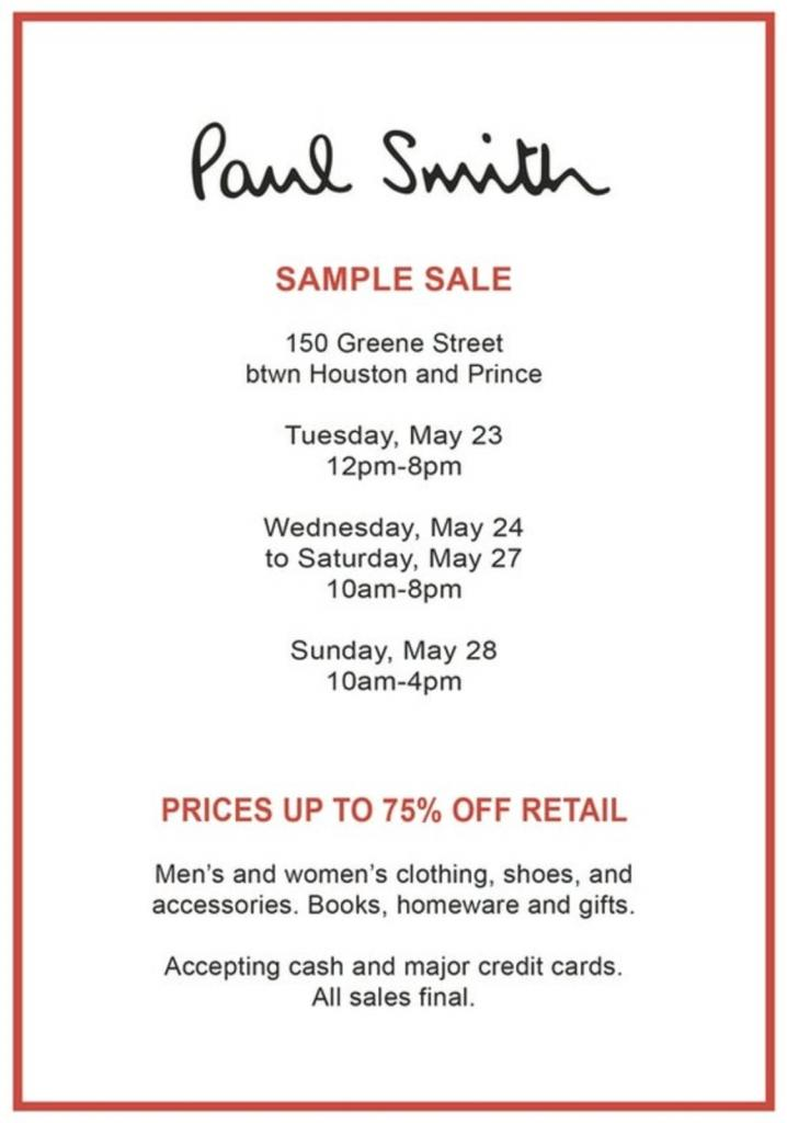 The paul smith sample sale | 260 sample sale, wooster street.
